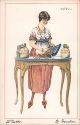 Woman Counting Coins at Desk