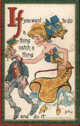 Woman Catching Man by Collar Postcard
