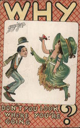Woman Kicking Heels Up, Surprising Man Postcard
