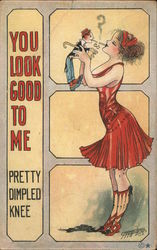 Woman Lighting Cigarette From Man-Doll Postcard
