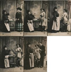 "Set of 5 French Nudes Series 5093 ""The Inspection!"" Postcard"
