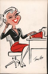 Office woman seated with typewriter Postcard