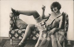 Woman Posing in Lingerie, Stockings Postcard