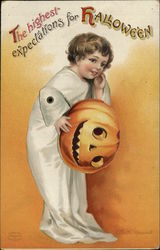 Rare Child in Ghost Costume with Jack-o-Lantern Headpiece