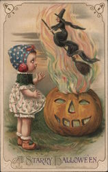 Rare Girl watching witch come out of jack-o-lantern Postcard
