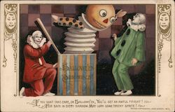 Hallowe'en Surprises - Two Clowns with Large Jack-in-the-box Postcard