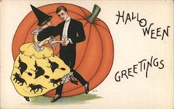 Woman Man Dancing Witches Black Cats Pumpkin Halloween Greetings