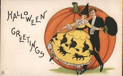 Halloween Greetings. Woman Man Dancing Before Big Pumpkin Witches Cats