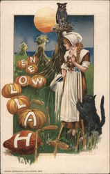Girl Looking at Pumpkins Spelling Halloween Postcard