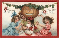 Hallowe'en Greetings - Four Pretty Girls Dancing Around a Jack-O-Lantern Postcard