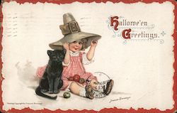 Young girl in pilgrim hat sitting with black cat and apples Postcard