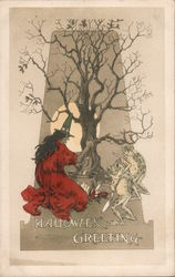 Witch and Frogs Tending Cauldron Under Tree: Halloween Greeting Postcard