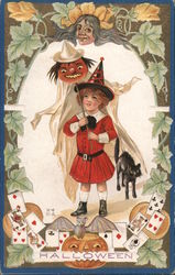 Girl With Black Cat and Pumpkin on Stick Postcard