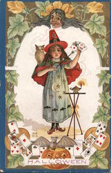 Girl Witch Costume Cards Owl Bat Jack O Lantern Hallowe'en Postcard