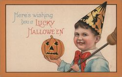 Boy Dressed as Witch with Jack-o-Lantern, Here's Wishing You a Lucky Halloween Postcard
