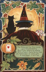 Witch Playing Cards Postcard