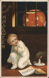 Child Scared of Jack O'Lantern in Window Postcard