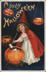 Girl Putting Wishes Into Pumpkin Postcard