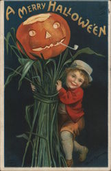 Child with Jack-o-Lantern on Stalks of Grass, A Merry Halloween Postcard