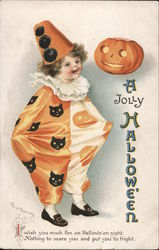 A Jolly Hallowe'en. Child in clown costume. Postcard