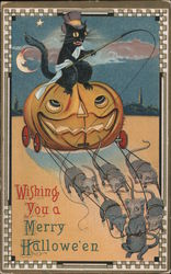 Wishing You a Merry Hallowe'en. Black cat in jack-o-lantern carriage pulled by mice. Postcard