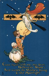Rare Two Children Watch Witch Fly Over the Moon Postcard