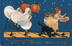Rare Two Children in Ghost Costumes with Jack-o-Lanterns Chase Third Girl Postcard
