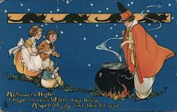 Rare Three Children Sit By Witch Brewing in Cauldron Postcard
