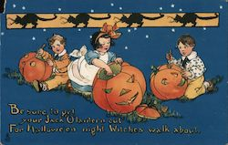 Rare Children Carving Jack O'Lanterns Postcard