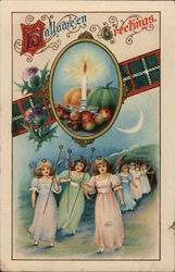 Hallowe'en Greetings. Candle Fruit Girl Angels With Star Wands