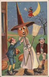 Two Boys Help Third Boy in Costume of Witch with Pumpkin Head, The Witch