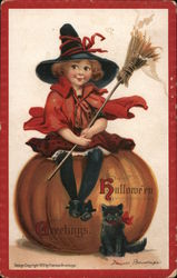Hallowe'en Greetings-Witch child holding a broomstick sitting on a pumpkin with a black cat. Postcard