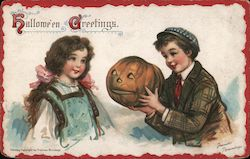 Hallowe'en Greetings. Girl Boy With Jack O Lantern Frances Brundage Postcard