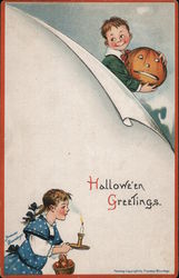 Girl With Candle - Boy With Jack O'lantern: Halloween Greetings Postcard