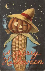 Corncob with a pumpkin head smoking a corncob pipe with straw hat on