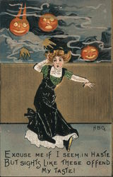 2 pumpkins floating above a girl