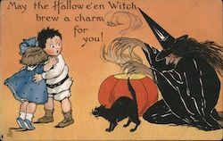 2 children next to a witch, a pumpkin, and a black cat