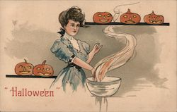 Woman With Jack O'Lantern's on Shelves Halloween Postcard