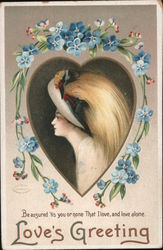 Love's Greeting - A Woman in a Heart Postcard
