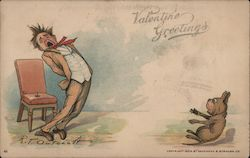 Valentine Greetings- Man sat on tack, yelling, scaring dog Comic Postcard
