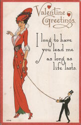 Valentine Greetings - A Woman Holding a Rope with a Man at the End Postcard