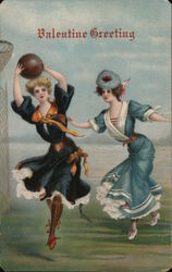 Valentine Greeting Two women playing basketball