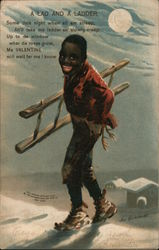 A Lad and a Ladder Postcard