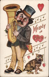 Melody in B Minor Man playing Baritone, next to a cat Postcard