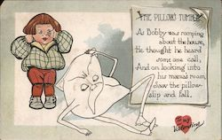 The Pillow Tumble- Cartoon Boy Looking at angry Pillow Comic Postcard