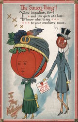 The Saucy Thing- Tomato headed woman and cranberry headed man Comic Raphael Tuck & Sons Postcard