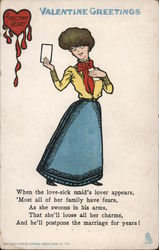 Valentine Greetings- Melting Heart, woman holding valentine Comic Postcard