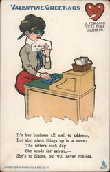 Valentine Greetings, woman licking envelopes- A few good licks for a change Comic Postcard