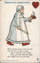Valentine Greeting- older woman holding key and candle Comic Postcard