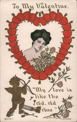 Woman Surrounded by Arrow-Pierced Hearts and Roses, Cupid and Bow, To My Valentine